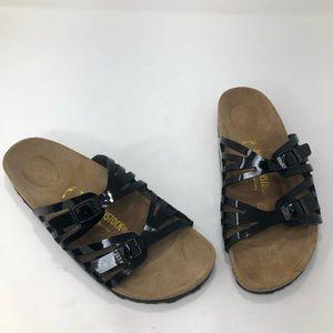 Birkenstock Shoes - Birkenstock Granada Two Strap Black Patent Sandal